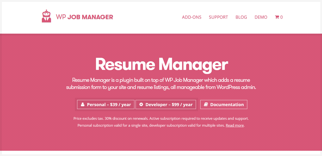 WP Job Manager Resume Manager Addon 1.18.1