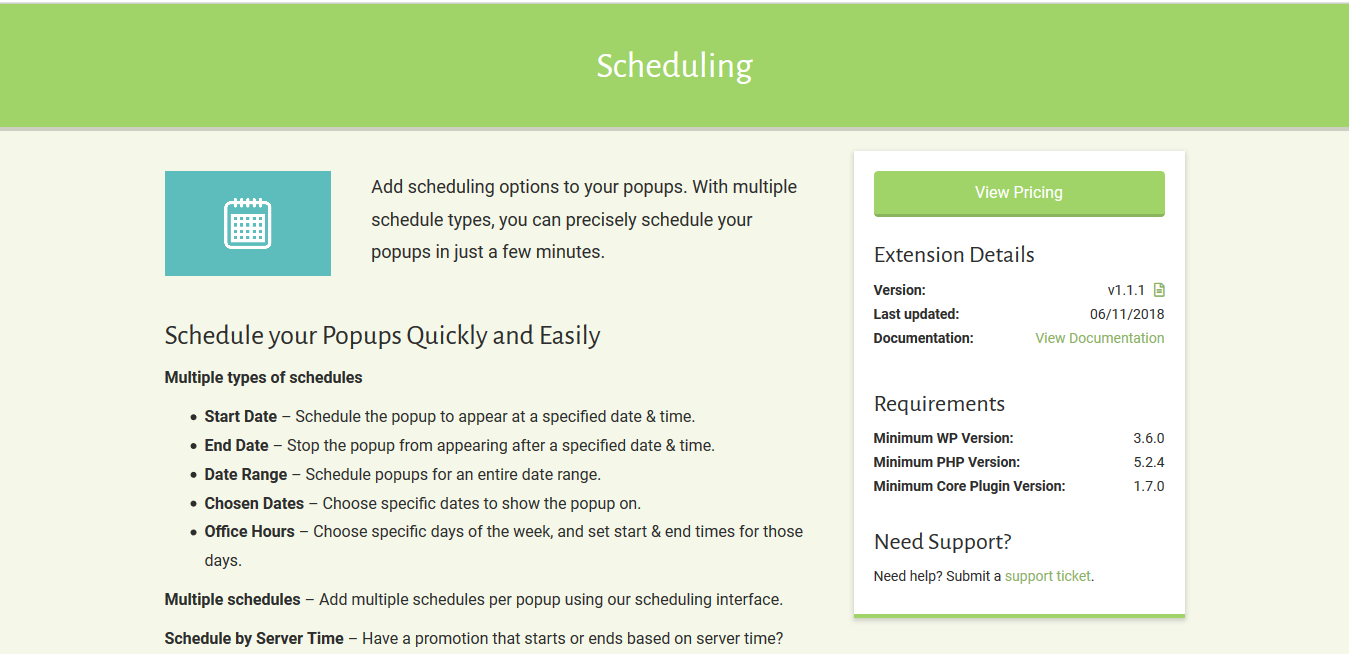 Popup Maker – Scheduling 1.1.1