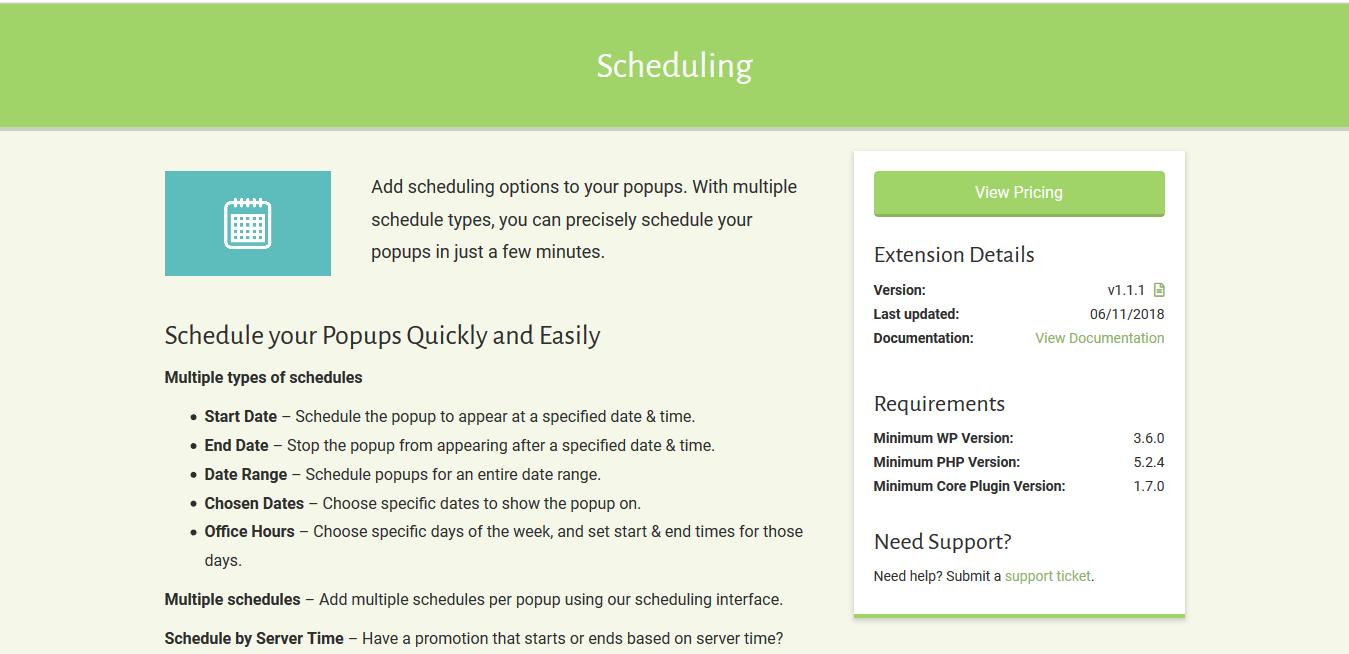 Popup Maker – Scheduling 1.1.1