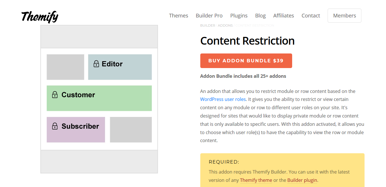 Themify Builder Content Restriction 1.1.3