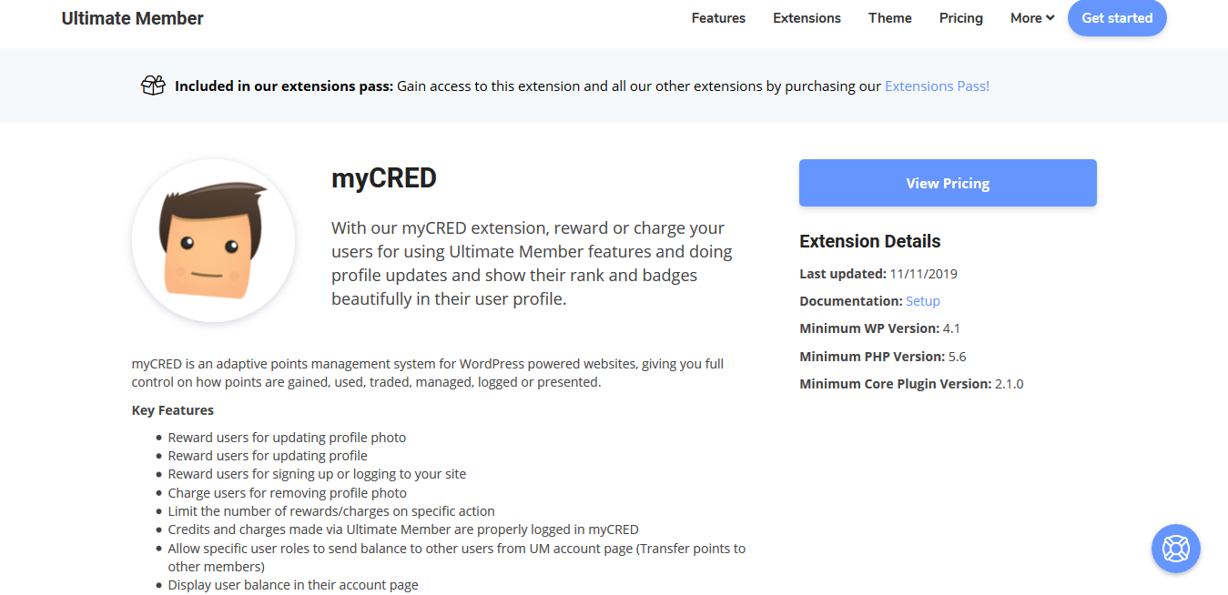 Ultimate Member myCRED 2.1.8
