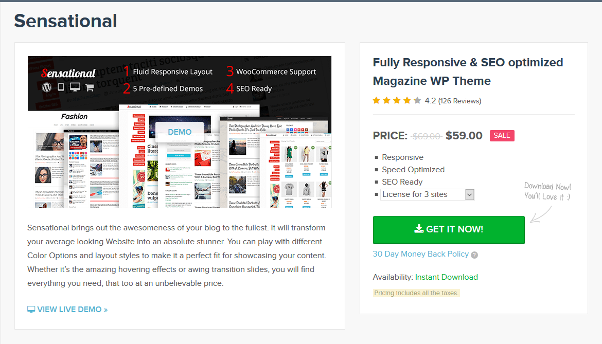 MyThemeShop Sensational WordPress Theme 3.2.4