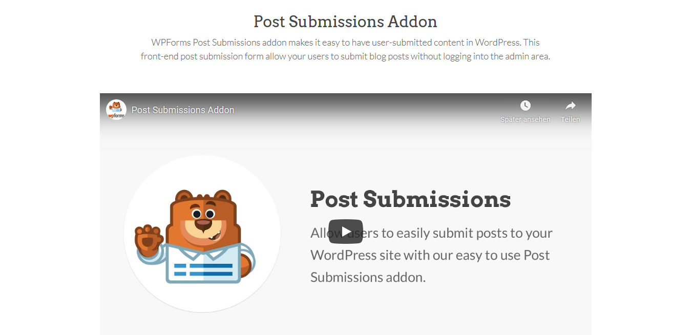 WPForms – Post Submissions 1.3.0