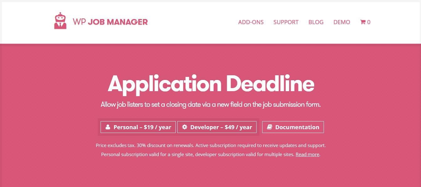 WP Job Manager Application Deadline Addon 1.2.2