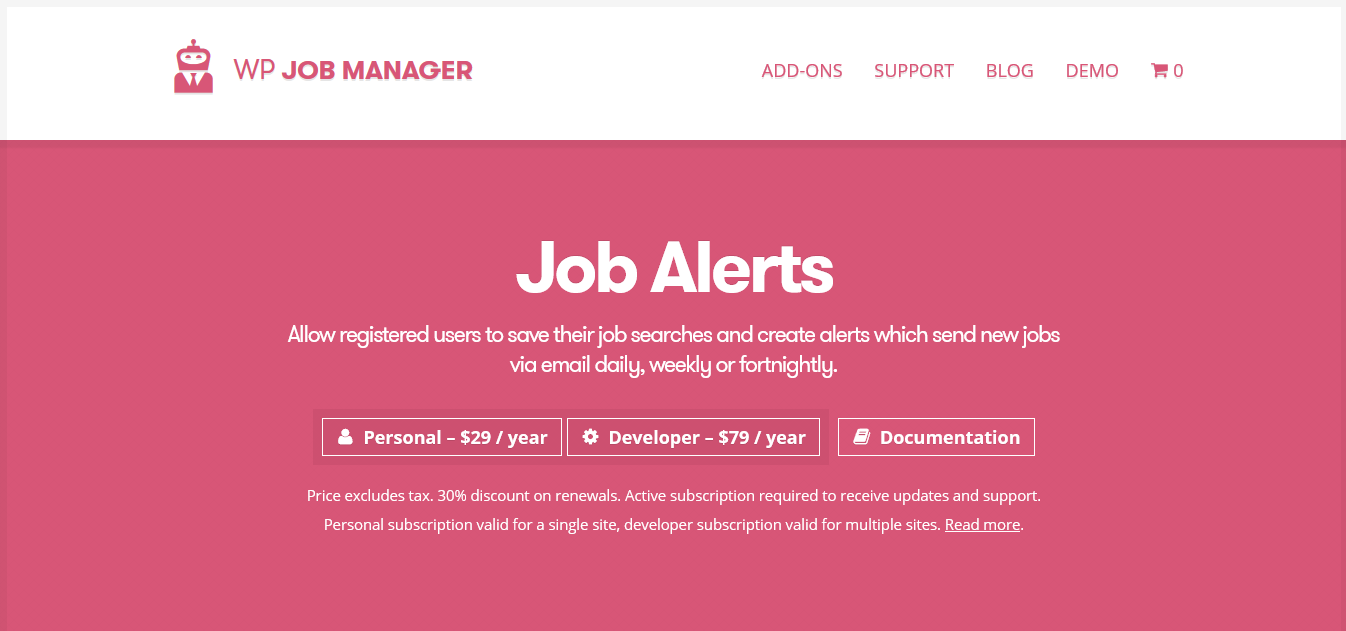 WP Job Manager Job Alerts Addon 1.5.2