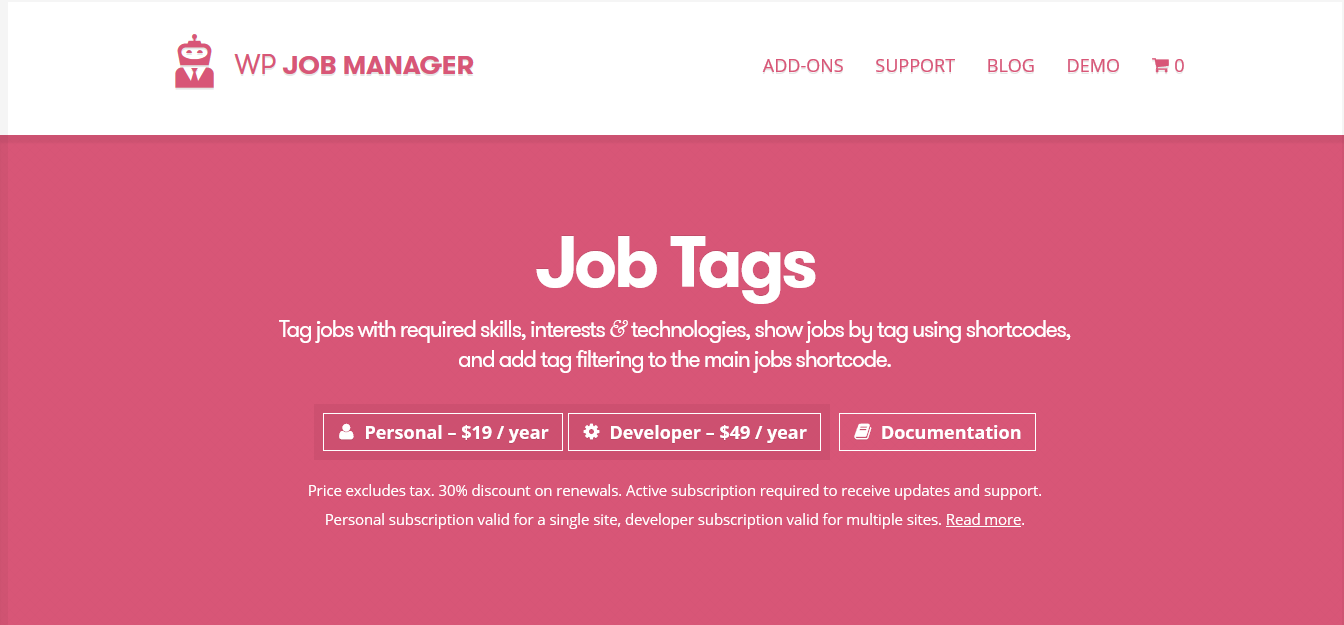 WP Job Manager Job Tags Addon 1.4.1
