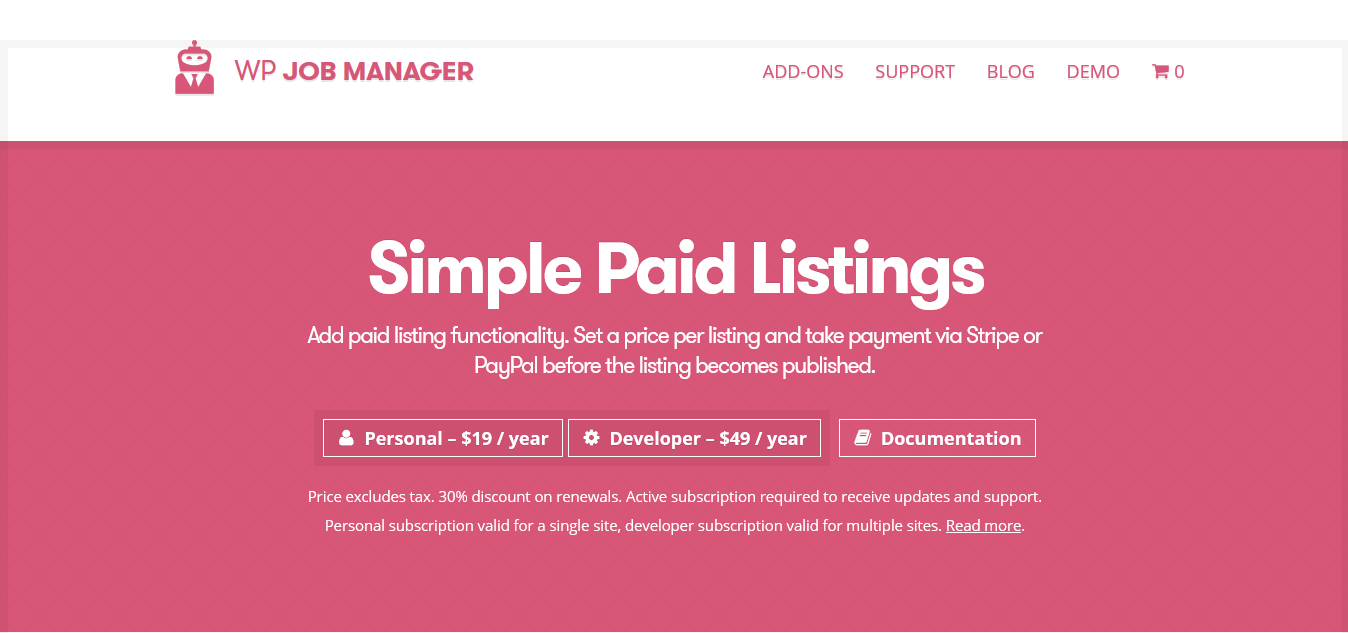 WP Job Manager Simple Paid Listings Addon 1.4.1