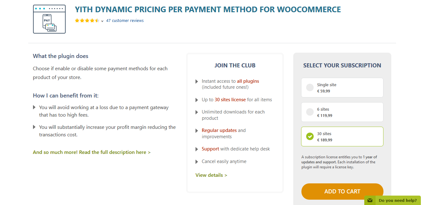 YITH Dynamic Pricing per Payment Method for WooCommerce Premium 1.2.14