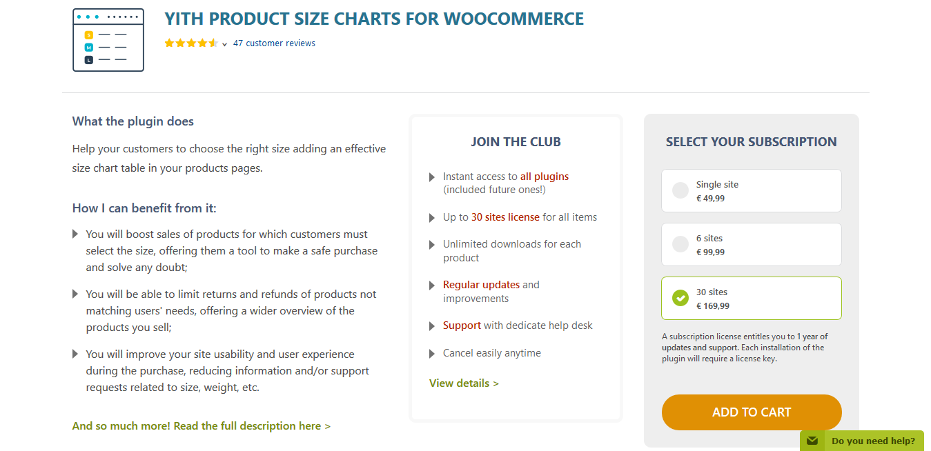 YITH Product Size Charts for WooCommerce Premium 1.1.26