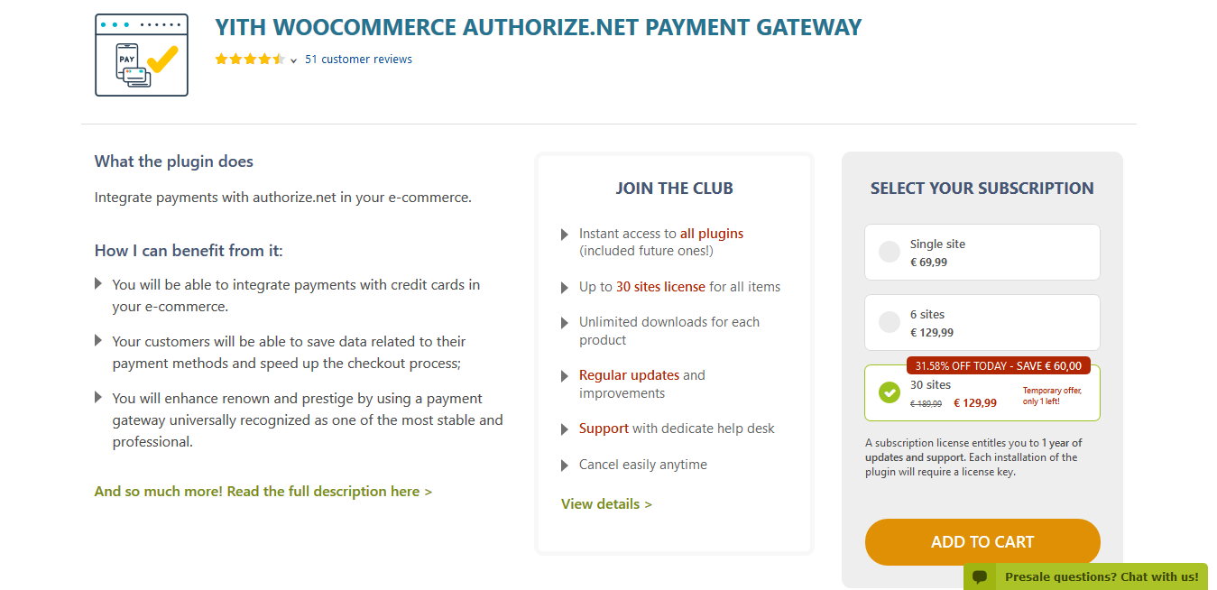 YITH WooCommerce Authorize.net Payment Gateway Premium 1.2.8