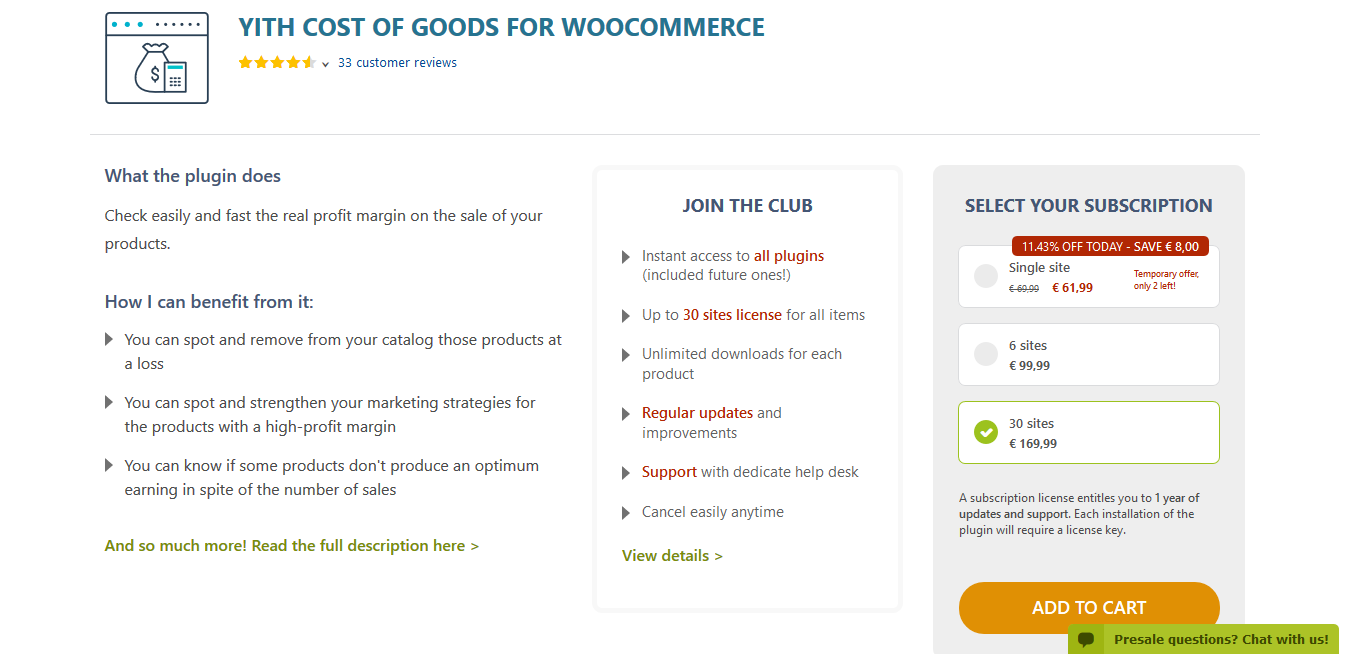YITH Cost of Goods for WooCommerce Premium 1.2.11