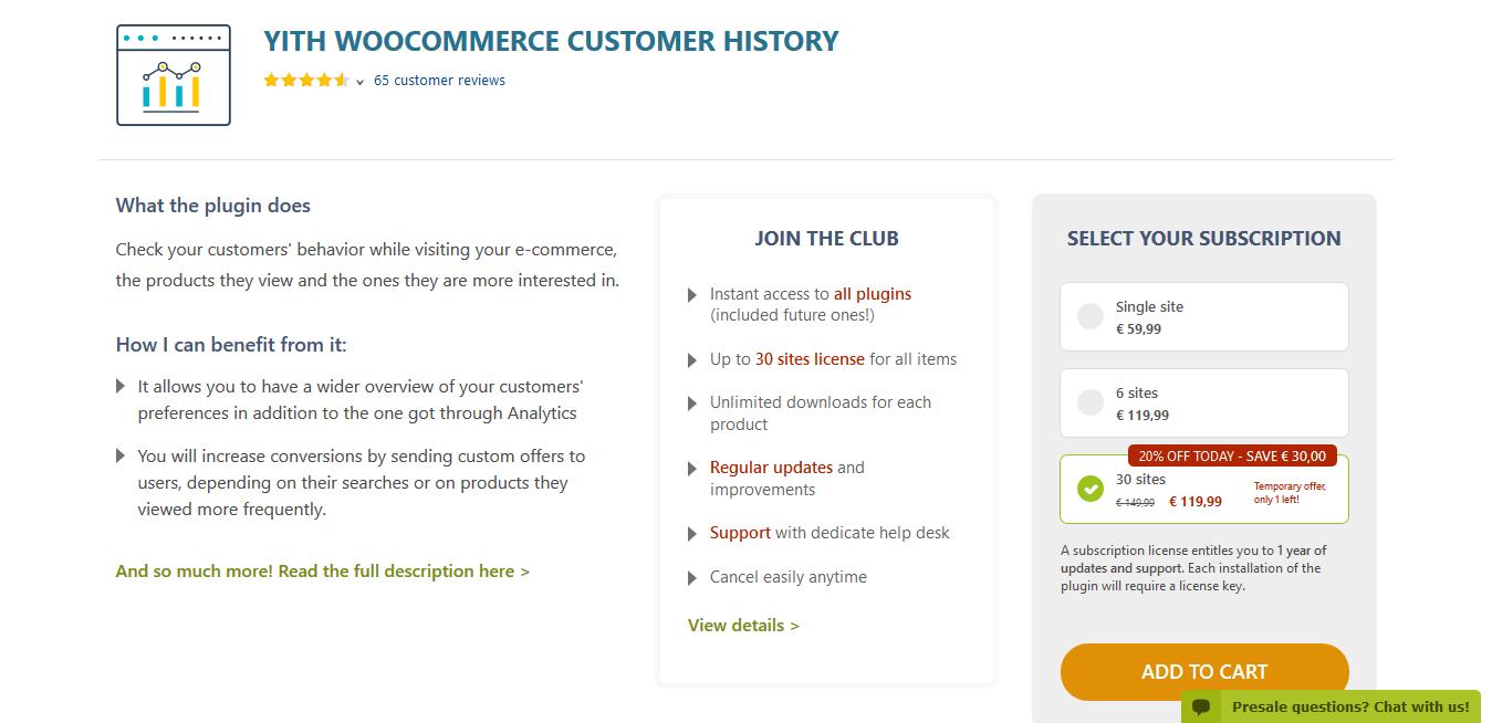 YITH WooCommerce Customer History Premium 1.2.5