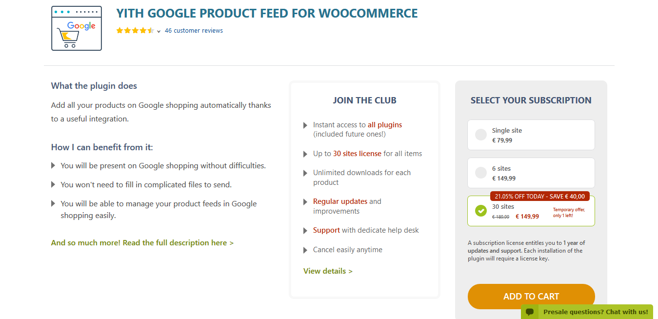 YITH Google Product Feed for WooCommerce Premium 1.1.20