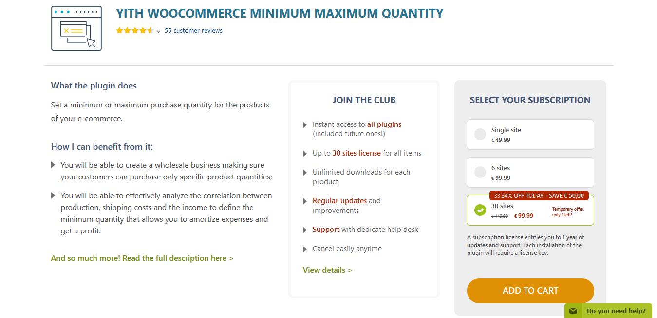 YITH WooCommerce Minimum Maximum Quantity Premium 1.6.2