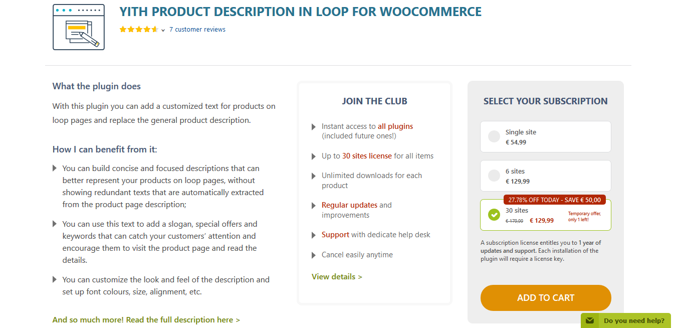 YITH Product Description in Loop for WooCommerce 1.0.8