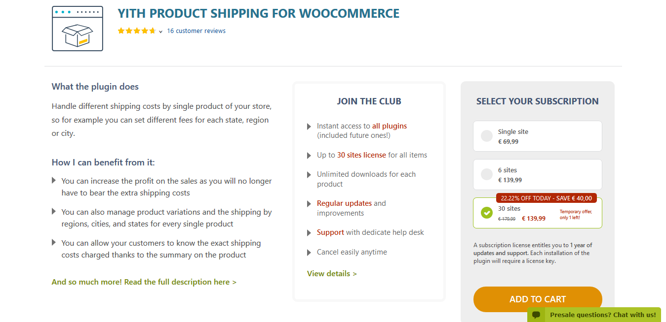 YITH Product Shipping for WooCommerce Premium 1.0.32