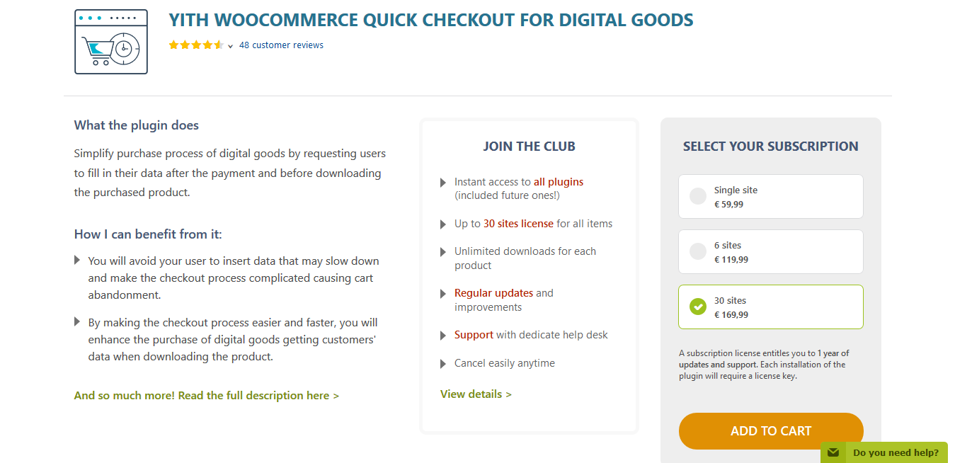 YITH WooCommerce Quick Checkout for Digital Goods Premium 1.4.3