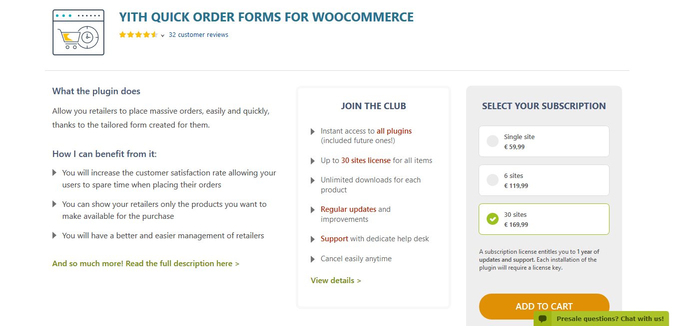 YITH Quick Order Forms for WooCommerce Premium 1.2.14