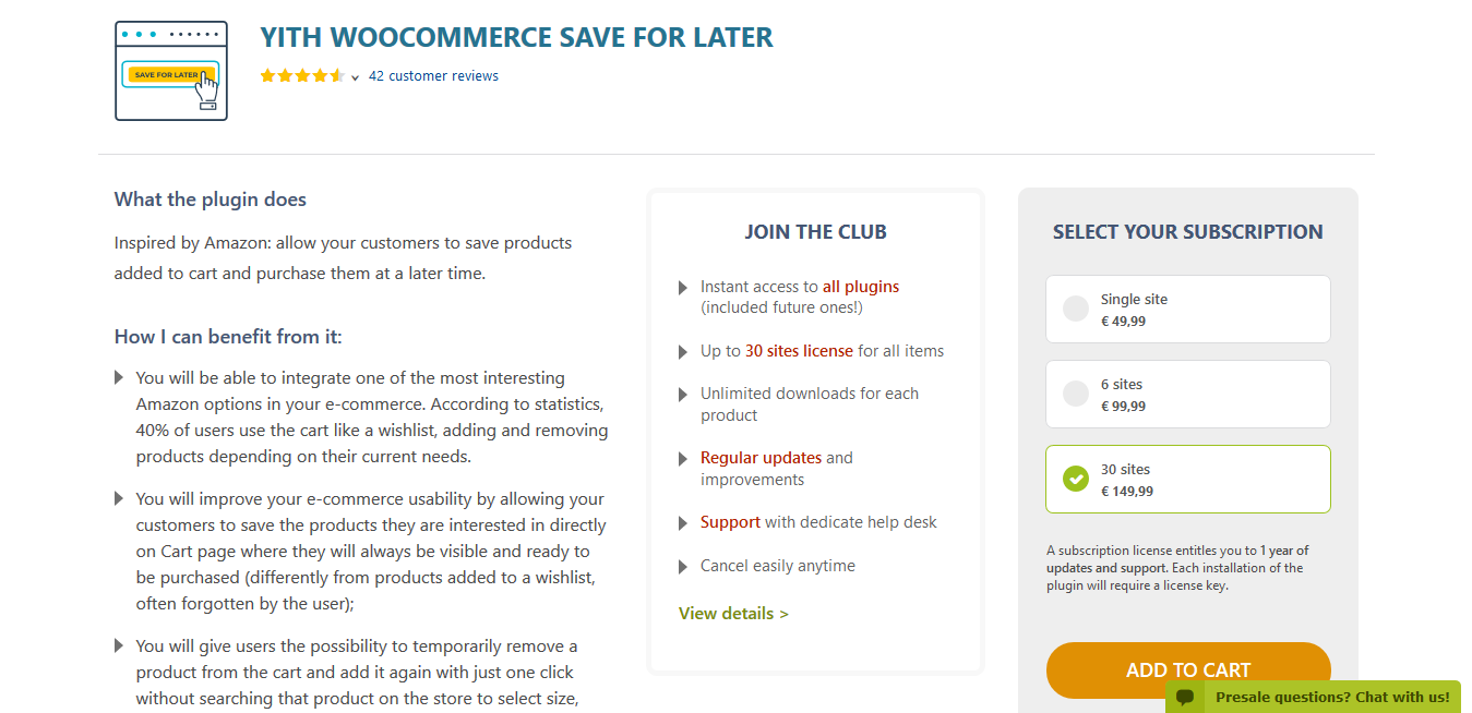 YITH WooCommerce Save for Later Premium 1.1.11