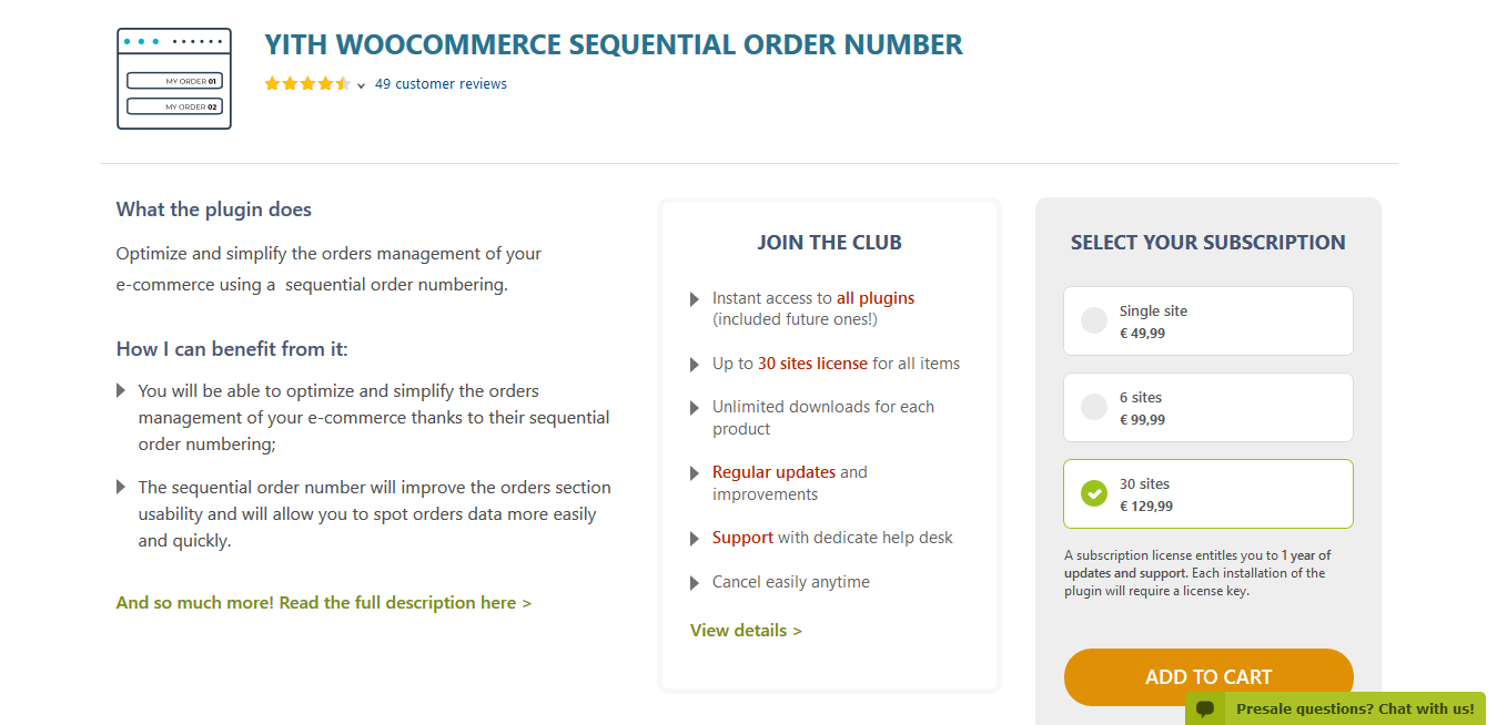 YITH WooCommerce Sequential Order Number Premium 1.2.10