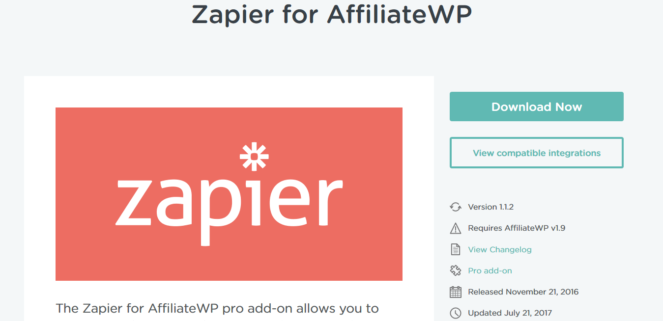 AffiliateWP – Zapier for AffiliateWP 1.1.2