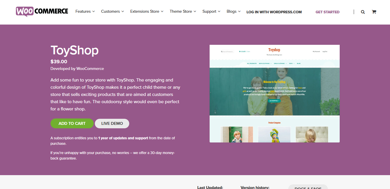 Storefront ToyShop 2.0.19 – A WooCommerce Storefront child theme for lively stores