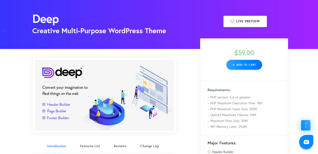 Deep 4.3.7 – Creative Multi-Purpose WordPress Theme