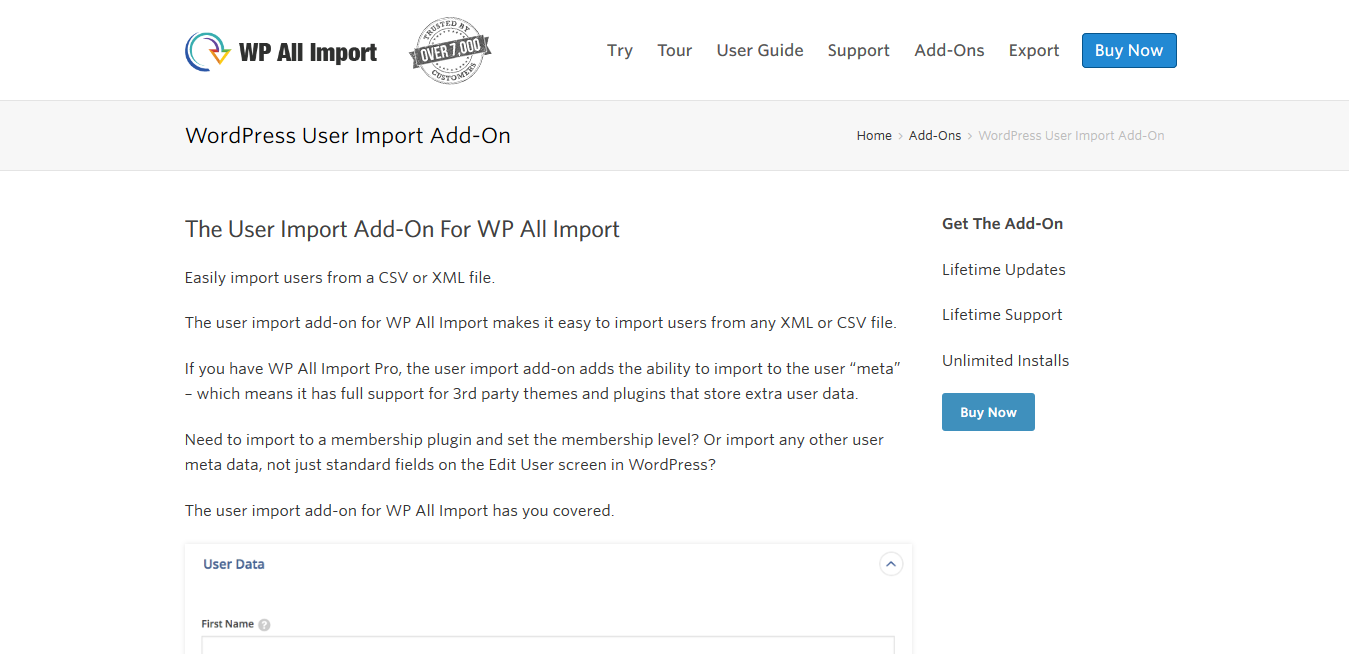 WP All Import Pro WordPress User Import Add-On 1.1.4