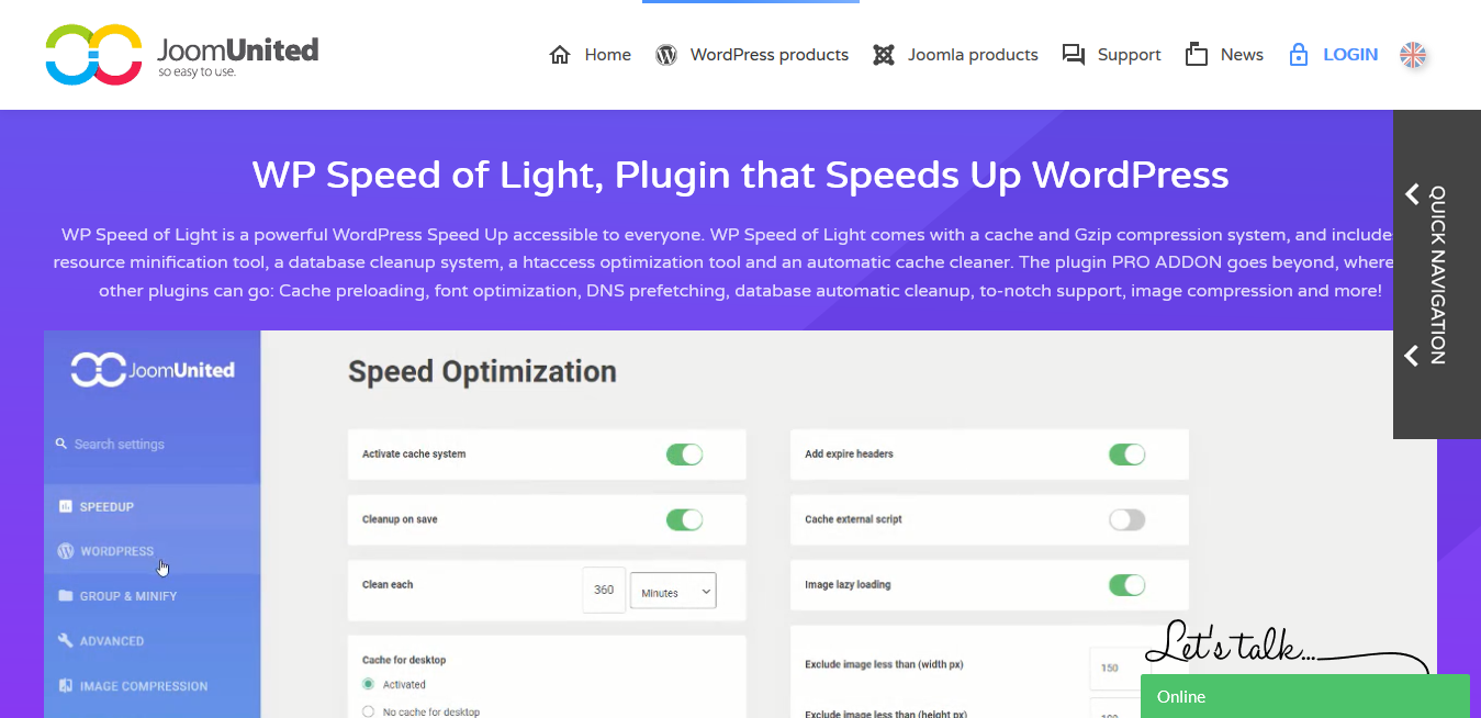 JoomUnited WP Speed of Light 2.6.4 – WordPress Speed ​​Up Plugin
