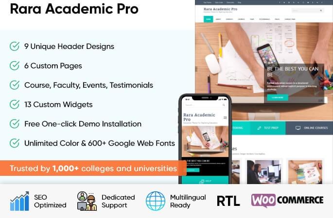 Rara Academic Pro 2.2.7 – School and University WordPress Theme