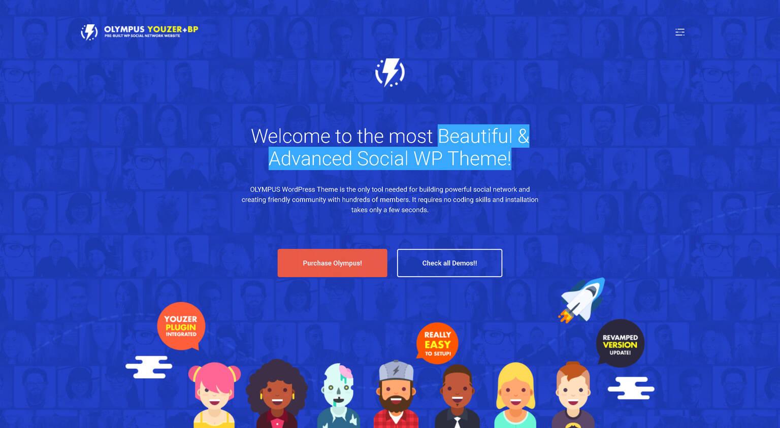 Olympus 3.80 – Social Networking WordPress Theme