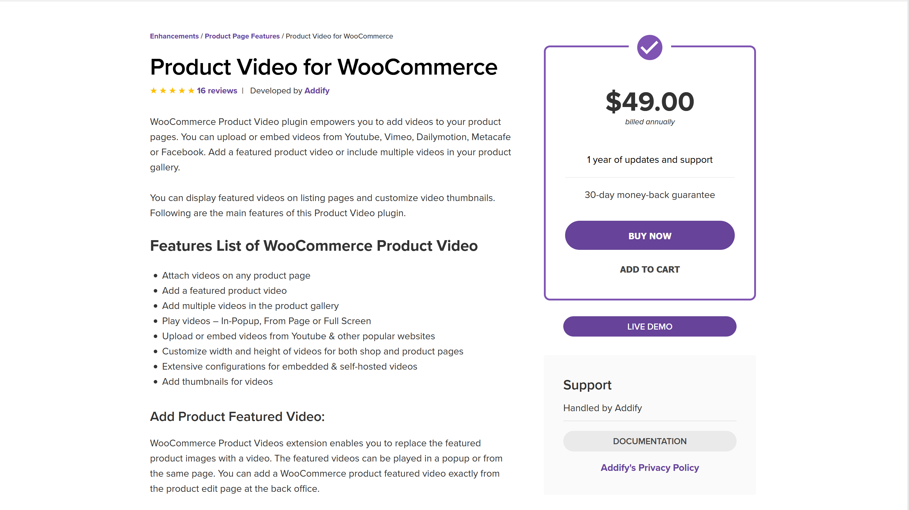 Product Video for WooCommerce 1.3.6 – Featured Gallery Video Plugin